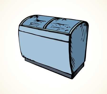 Chiller case icebox door stand on light background. Line black ink hand drawn rack chest box cafe aisle device symbol sign in art modern doodle cartoon style pen on paper space for text. Close up view