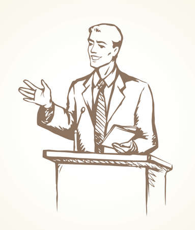 Young guy in suit at wooden platform pulpit on white press interview scene background. Line black hand drawn spokesman symbol pictogram in modern art doodle cartoon style pen on paper space for text