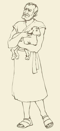Adult bearded historic medieval herdsman holding a little fluffy goat in antiquity middle east judaic biblical attire: robe and boots. Vector contour ink drawn sketch in art retro style pen on paper