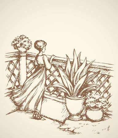 Slim pretty Lady in fashion long gown on porch. Freehand outline ink hand drawn picture sketch in art retro engraving graphic style pen on paper. Romantic rear view with space for text on clear sky