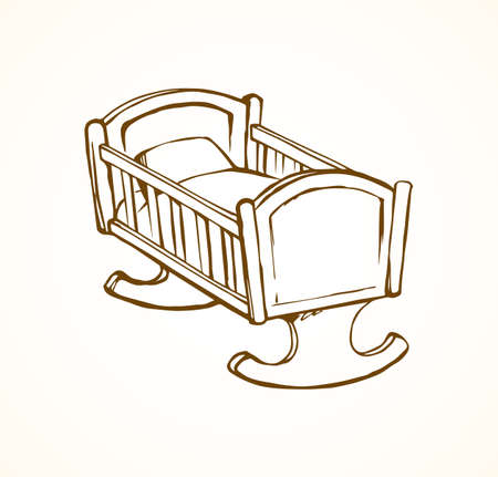 Cute rail carrycot nap design on white room wall backdrop. Outline black ink hand drawn safety swing dream object logo pictogram sketch in antique art doodle engrave style pen on paper space for text