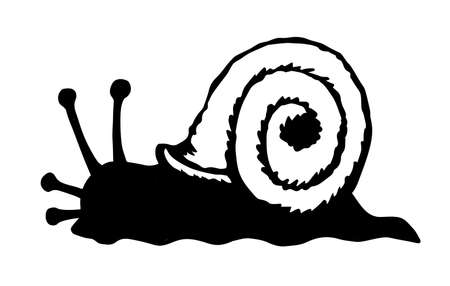 Big fun cochlea on light backdrop. Freehand linear dark ink hand drawn creative pictogram emblem design insignia element concept in retro art doodle print style pen on paper text space. Close up view