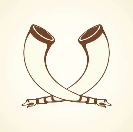 Big aged cow bone tusk beer bowl on white backdrop. Freehand line black ink hand drawn folk object design logo emblem sketch in archaic art doodle style pen on paper. Close up view with space for text Ilustrace