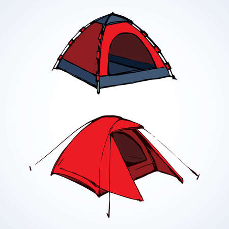 Open hiker resort booth tarpaulin habitation on white backdrop. Bright scarlet color hand drawn logo sketchy in art modern scribble contour style pen on paper. Closeup view and space for text