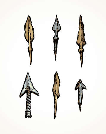 Aged past era scythian tribal sharp copper bow harpoon artifacts set isolated on white backdrop. Freehand outline ink hand drawn picture sketch in art doodle retro style pen on paper. Closeup view