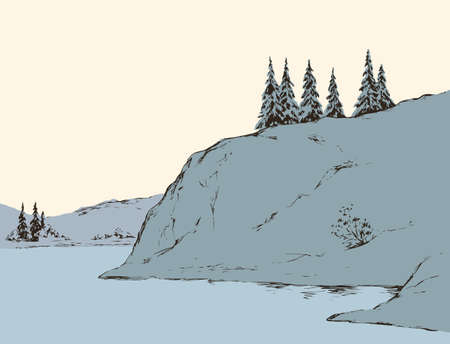 Rustic scene with high cliff on riverbank with space for text on white sky backdrop. Alpine waterside. Outline freehand black ink hand drawn picture sketchy in art vintage scribble style pen on paper