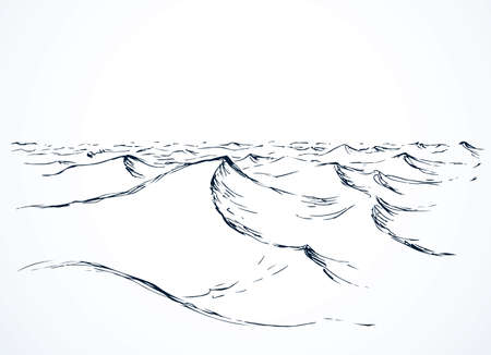 Wet spume curly motion horizon scene. Outline black pen ink hand drawn storm sign icon symbol design sketchy in art doodle retro etch cartoon style. Scenic line view with space for text on white paper