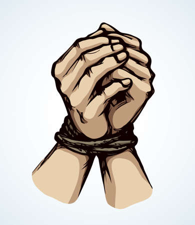 Danger imprison link string cord handcuffed on white paper text space. Color drawn unable pray finger fist bind addiction icon sign in art cartoon style. Close up abduct arrest caught prayer body wrist pain