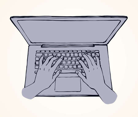 Lcd macbook keypad on white table desk backdrop. Black line drawn led netbook. Www social data key icon sign sketch in modern art doodle style on pad space for text. Close up palm push above top view Ilustracja