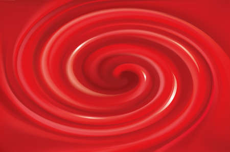 Glossy wavy eddy coral cycle backdrop. Coil syrup fluid surface deep claret color with space for text in center of funnel. Appetizing mix gel jam of vibrant ruby cherry, bilberry, redcurrant, foxberry