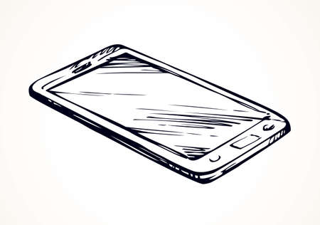 Mini pc touchphone with blank display show app an sign sms ui picture. Outline freehand black on white ink hand drawing icon sketch in art doodle style pen on paper. View closeup with space for text