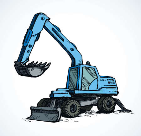Utility power pneumatic mini cutcat model with dipper and big rubber bus on white background. Bright blue color hand drawn grab logo emblem pictogram. Side view on space for text on quarry grub land Logo