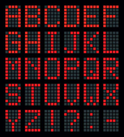 Shiny bulb count square lcd led logo typeface element set bright red color modern art style. Closeup dark neon travel club termin device grid dial table counter indicate typeset collection web design Ilustração