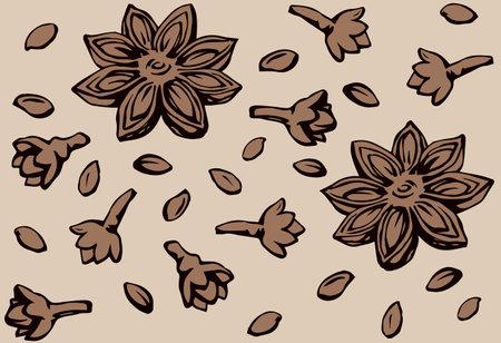 Indian natural gray badiam pod of anice crop product on beige fond. Dark brown ink hand drawn staranise symbol sketchy in retro art doodle cartoon style. Tileable vintage anisestar closeup macro view Vektorgrafik