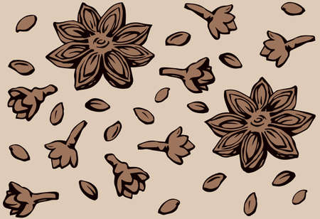 Indian natural gray badiam pod of anice crop product on beige fond. Dark brown ink hand drawn staranise symbol sketchy in retro art doodle cartoon style. Tileable vintage anisestar closeup macro view