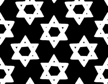 Old kosher judaic chanukkah magen shape heritage backdrop. God torah chanukah yiddish day logo emblem. White color hand drawn zion ethnic hannukah sketch in retro art silhouette style on dark black