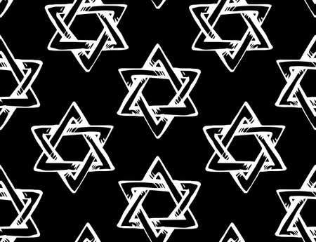 Old kosher judaic chanukkah magen shape heritage backdrop. God torah chanukah yiddish day logo emblem. White color hand drawn zion ethnic hannukah sketch in retro art silhouette cartoon style on dark black fond Vettoriali