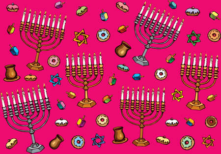Vintage golden hanukka candelabra lamp, dough pastry bread eat bakery snack, old cup gift, spin toy. Biblic ethnic happy hanukkiah hexagram ceremony design drawn as retro graphic on crimson backdrop