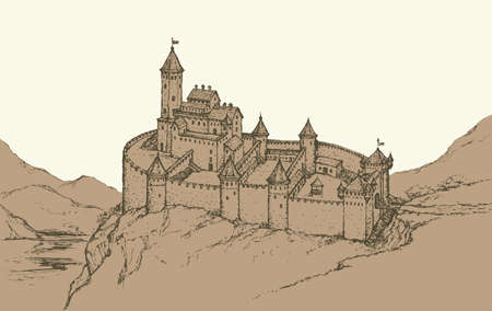 Stone wall Romanesque Fort and dungeon jail on rock hill. Fairy tale freehand ink drawn background sketch in art archaic style pen on paper. Plan structure top view with space for text on evening sky