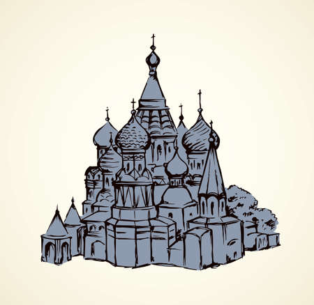 Aged st. Vasily Blessed minster view at vintage spasskaya downtown place. Line black ink hand drawn picture symbol in art retro doodle graphic style pen on paper with space for text on white sky