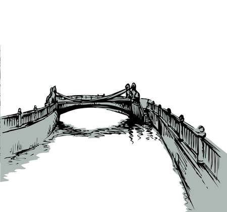 Aged russian arch bridgework path on pond coast scene. Outline black hand drawn creek channel square scenery picture. Retro art doodle cartoon line style. Panoramic scenic view text space on white sky