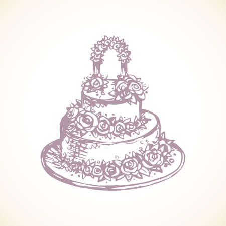 Big cute pink bridal cacao ice yummy flavor torte with whipped mousse and floral rose ornament decor isolated on white background. Outline ink pen hand drawn picture sketch in art doodle graphic style 向量圖像
