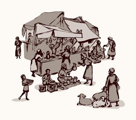 Antique orient religious heritage outdoor vendors man crowd scenic Syria view. Retro fez goods place on white background. Black hand drawn saudi rabat bazar quarter sketch in art cartoon history style Ilustración de vector