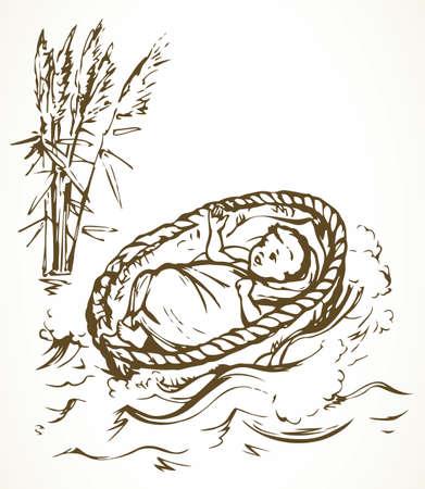 Closeup view exodus cute newborn israeli slave male human cry. White Nile grass bush plant scene text space. Black ink hand drawn king sleep logo icon sign design. Retro church art doodle line style