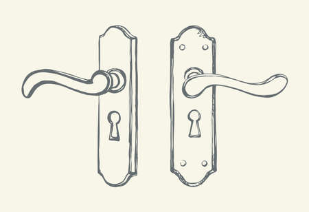 Aged rusty iron doorhandle padlock design set on white backdrop. Outline black ink hand drawn luxury come object logo pictogram in modern art doodle cartoon style on paper space for text. Closeup view