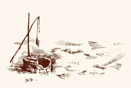 Aged fountain basin hole in Senegal nomad farm village. Freehand black ink hand drawn picture sketchy in vintage art doodle style pen on paper. Scenic view with space for text on white sky background