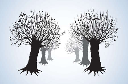 Big cut off deciduous oaktree isolated on white parkway backdrop. Freehand linear black ink hand drawn picture sketchy in art retro doodle graphic style pen on paper with space for text on light sky