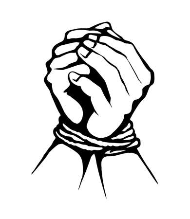 Danger imprison link string cord handcuffed prayer on white space. Black line drawn unable finger fist bind addiction icon sign in art cartoon style. Close up abduct arrest caught pray body wrist pain