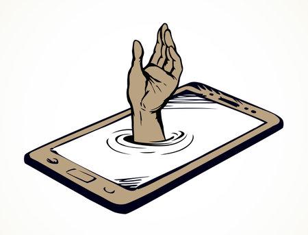 Flat ui pc device palmtop data www app white space for text. Ask life reach raise up male user arm finger. Cartoon art vector drawn sea dive suck human risk phub sink tech net site info sos sign icon