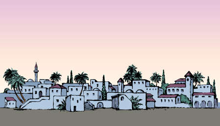 Aged twilight middle east antique turkey orient palm tree oasis scene view with vintage tower dwelling. Bright color hand drawn picture sketch in retro cartoon graphic style text place on evening sky  イラスト・ベクター素材