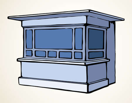 Local market mall cash booth boutique box stand house exterior. White text space. Black line hand empty town fruit cook hut symbol. Small urban cooking ice cream rack in art retro book cartoon style Ilustración de vector