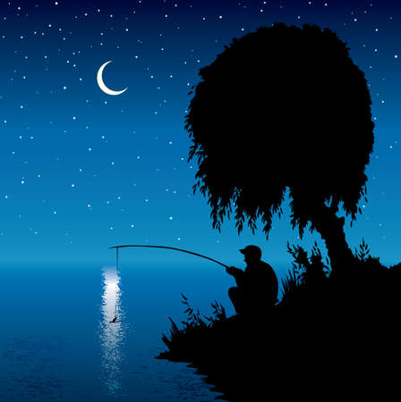 Rural calm peace old village park hill reed scene adult human guy boy relax hunt tool rest cartoon draw art style. Wild forest country stream wave scenery view dark black twilight blue star text space Vektorové ilustrace