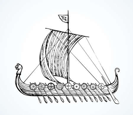 Archaic past century wood oar galleon with shield for merchant trading isolated on white background. Line ink hand drawn colonization logo symbol icon sign sketch in art retro cartoon graphic style