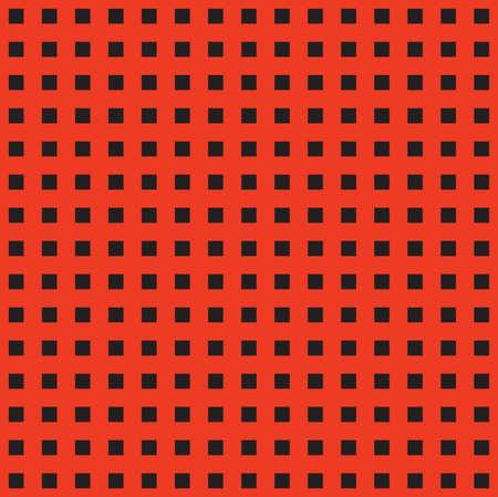 Tileable artistic quadrangle shape spliced form template. Trendy red cubic carpet element. Bright scarlet color fashion modular mesh retro techno style creative repeat recurring fond design