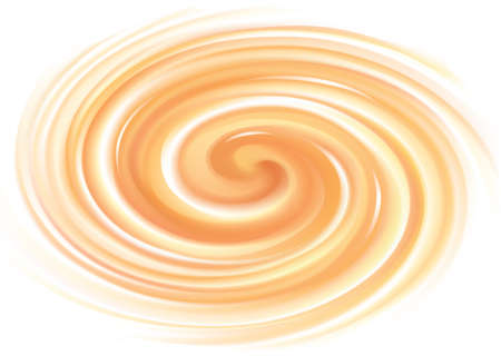 Vector vortex ripple backdrop with space for text. Beautiful curvy fluid surface gentle terracotta color. Circle soft mix of pure fresh sweet carrot, melon, pumpkin, apricot and lemon dessert syrup