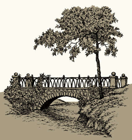 Age urban history arc path way yard brook bank scene outline black ink pen hand drawn picture frame art retro doodle line style. Scenic wild bush branch wood leaf plant view white text space backdrop