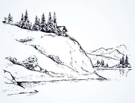 Rustic cliff bush spruce scene on high riverbank. Alpine waterfront camp chalet on space for text on white sky. Line black ink hand drawn lodge picture in art vintage doodle engrave style pen on paper