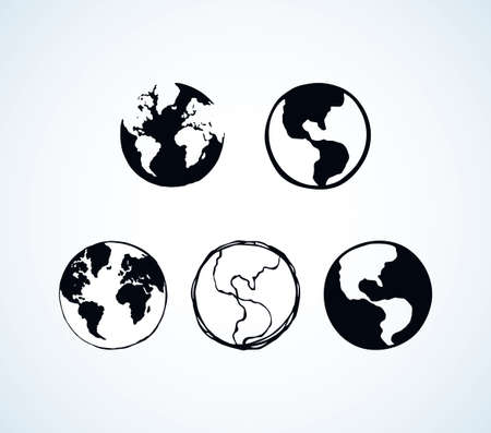 Glob orb round hemisphere shape on white backdrop. Simple network science contour study concept. Dark black ink hand drawn picture logo emblem sketchy in art retro doodle cartoon engraving style