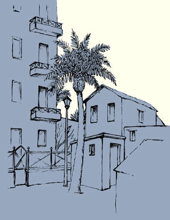Old eastern village abode edifice courtyard lamp scenic view white sky text space backdrop. Outline black ink pen hand drawn rural travel picture art retro jew doodle pencil line engrave style paper