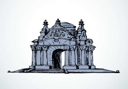 Majestic aged quaint romantic marble arc carved block water wellroom in luxury bower kiosk on stepp stage base isolated on white. Freehand outline ink drawn picture sketch in rococo style. Front view