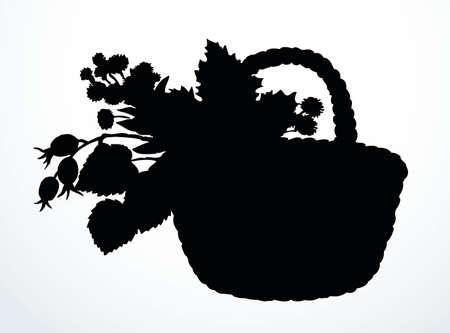 Outline black ink hand drawn antique rough cane twig craft braid picnic cep hip dish bast logo emblem ancient doodle pencil cartoon art engrave style. Closeup still life view white text space backdrop Logo