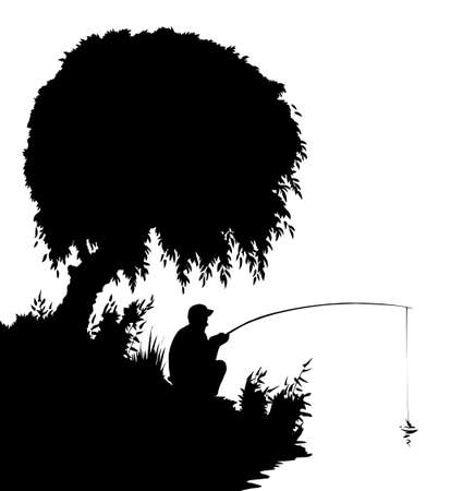 Rural calm peace old village garden park hill reed scene. Adult human guy boy hunt lure tool cartoon dark black draw art style. Wild forest country stream creek wave scenery view white sky text space