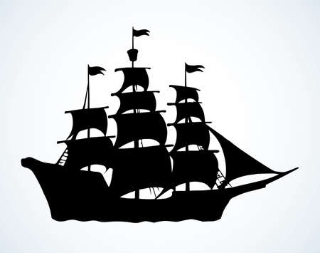 Wooden classic tall line wave buccaneer sailfish galley pictogram isolated on white sky. Outline black ink hand drawn logo sign emblem pictogram design. Art retro doodle style pen on paper text space