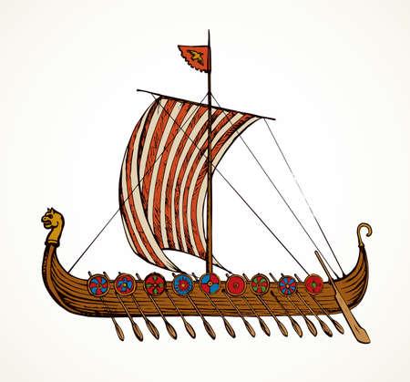 Archaic past century wood oar shield Greek galleon. Black ink stripe hand drawn roman merchant trade colonize icon sign symbol design white paper sketch in aged art retro graphic etch print style Vettoriali