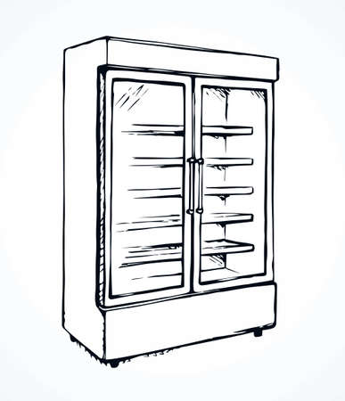Big chiller show ice soda good case icebox stand on white background. Line black hand draw empty rack chest box cafe aisle device symbol sign in art modern doodle cartoon style on paper space for text