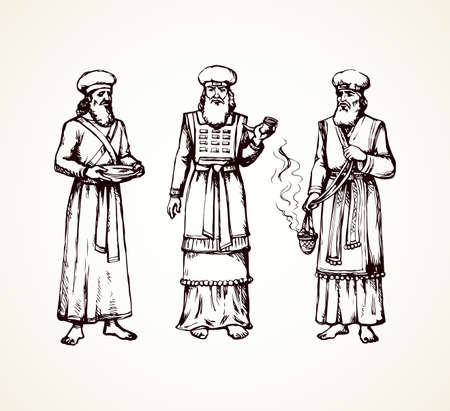 Moses torah historic divine ministry culture. Old bearded Aaron in tunic, turban with censer of incense. Line black ink hand drawn judaic levit leader sketch in vintage art east engrave silhouette style Ilustración de vector